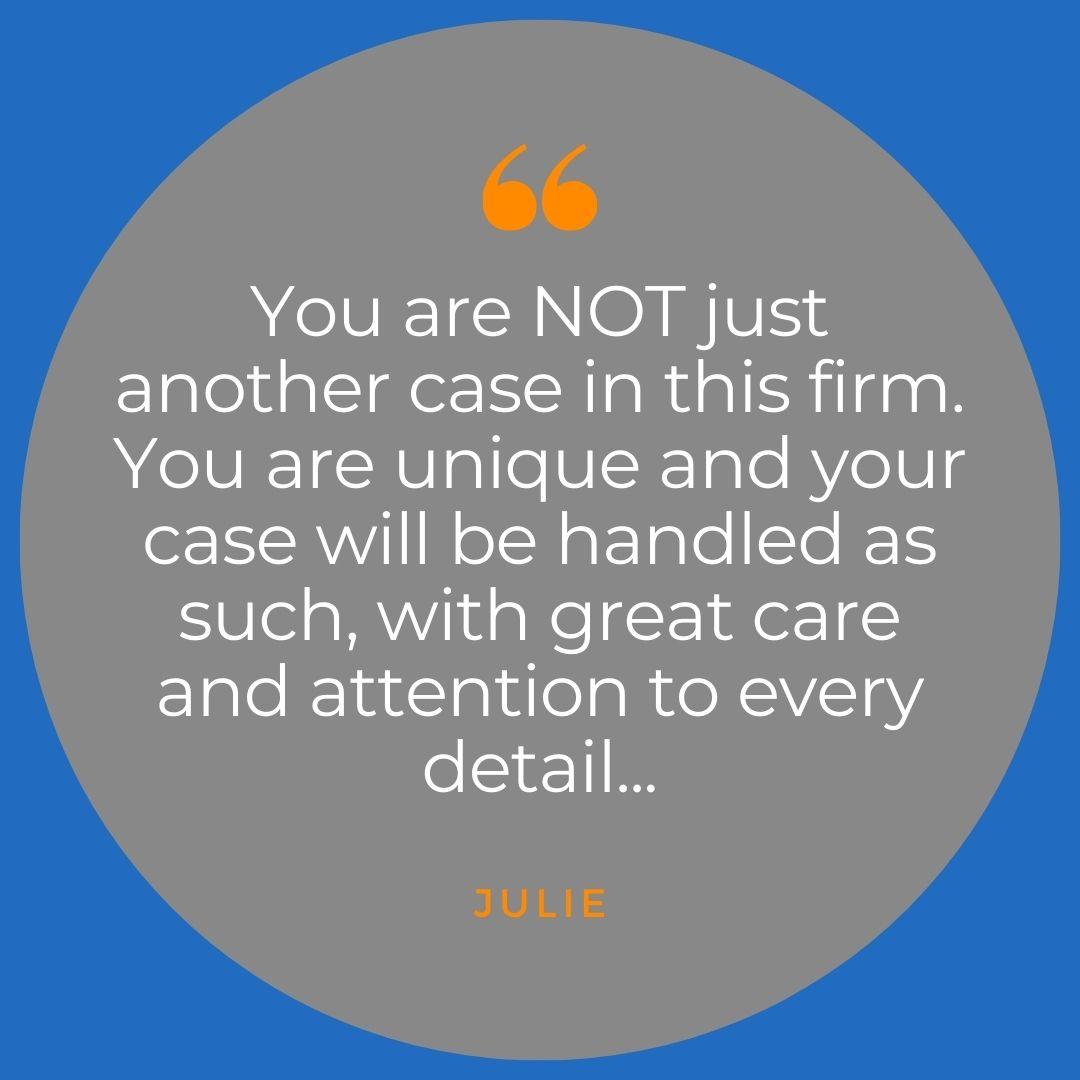 testimonial from former client Julie