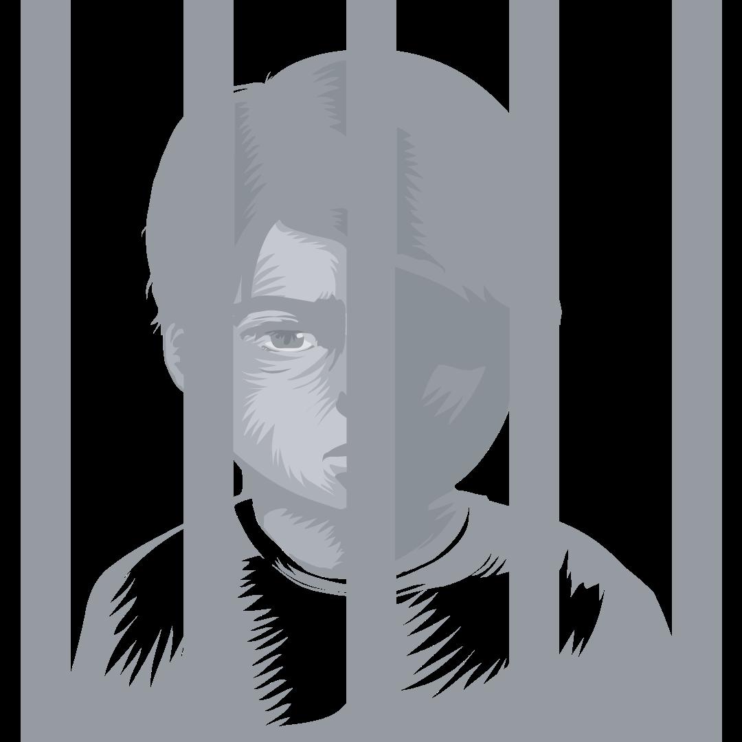 Child behind jail bars